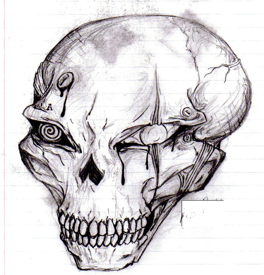 Drawn skull alien Jane Cyborg Jane Alien by