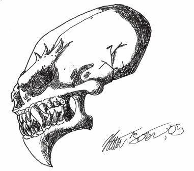 Drawn skull alien NateBlue tattoo on skull by