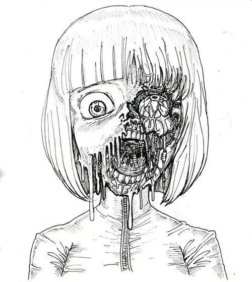 Drawn skull anime Manga scary de creepy y