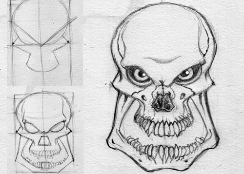 Drawn skull anime  Screenshot on Clever Drawing