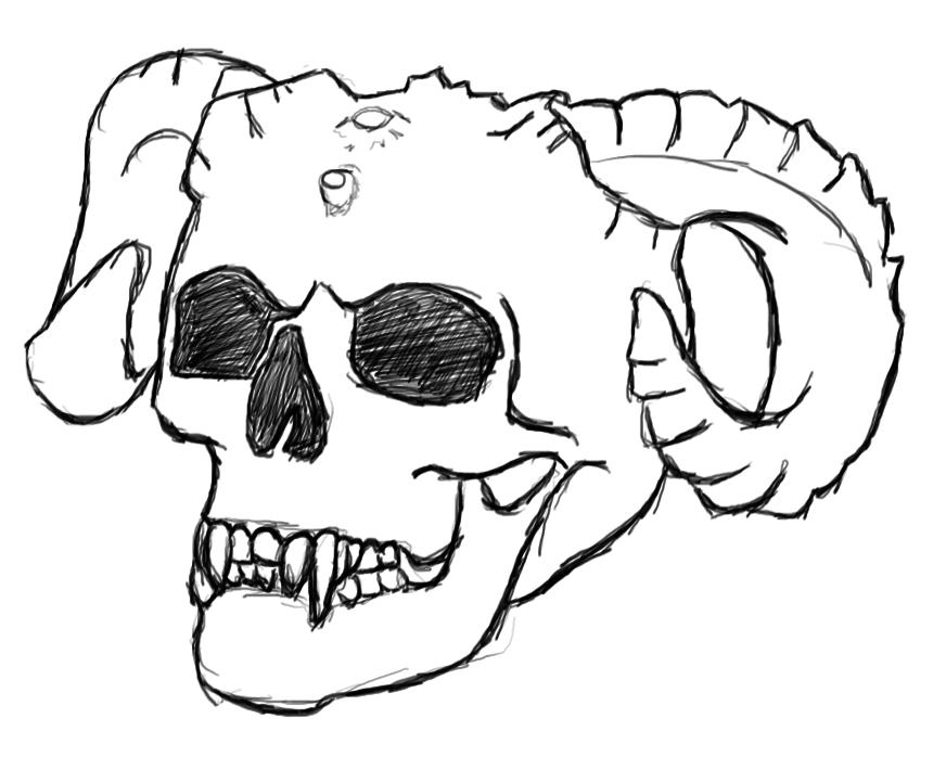 Drawn skull anime Baemo drawing demon skull by