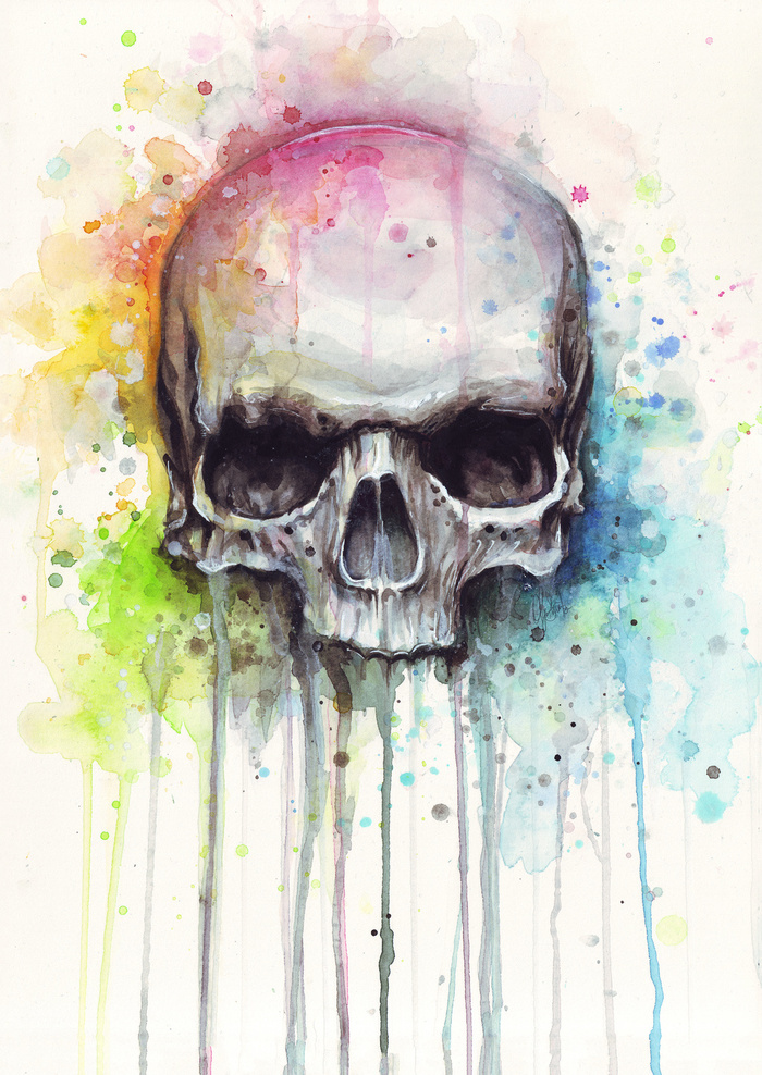 Drawn rainbow watercolor painting By Skull Painting