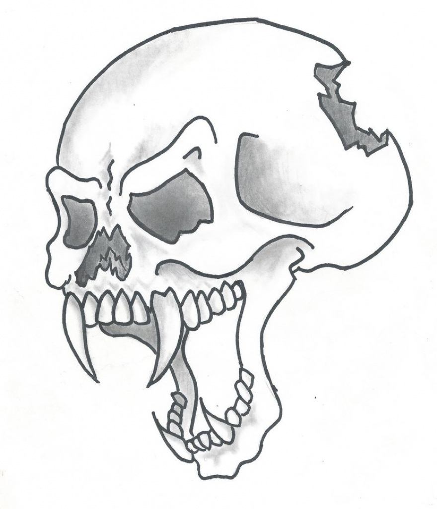 Drawn ssckull awesome Coloring Coloring Easy Skull 9