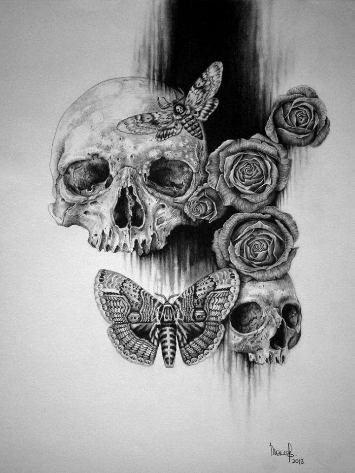 Drawn butterfly skull rose Skull more images Skull the