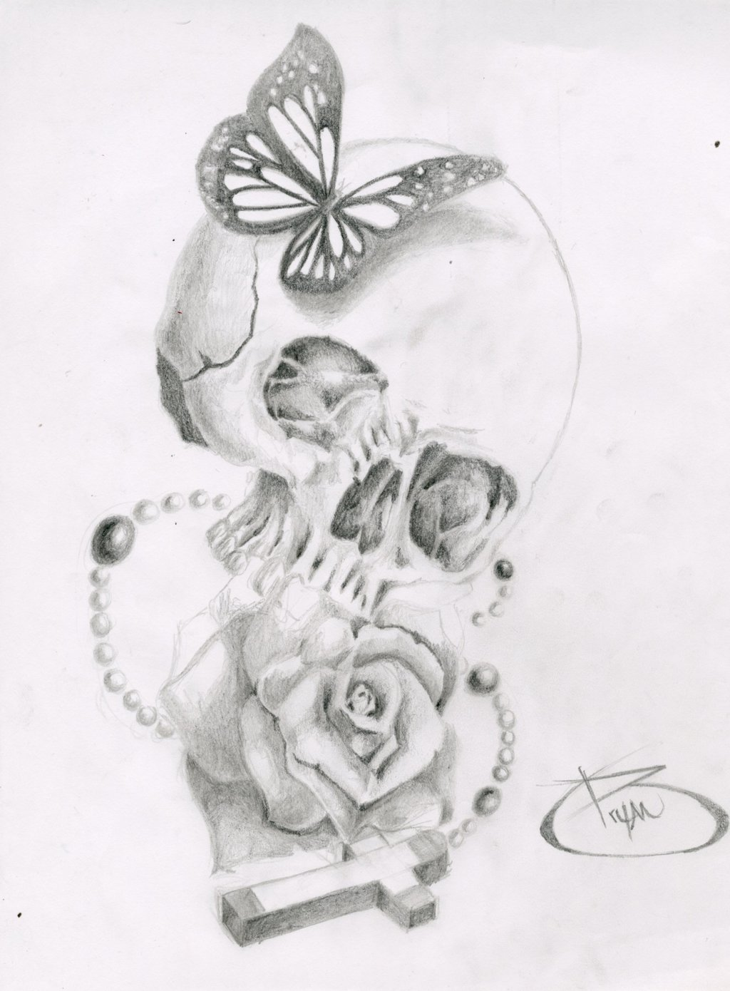 Drawn butterfly skull rose Com by on by @deviantART