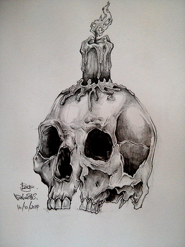 Drawn skull candle Naveous Candle Skull Drawning on