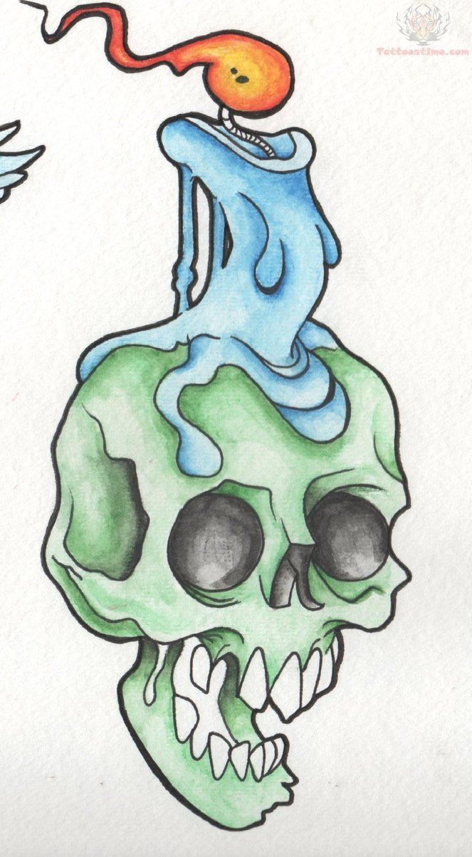 Drawn skull candle Candle On Skul Melting Skull