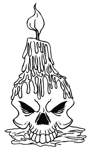 Drawn skull candle 00 Candle Skull Decal Decal