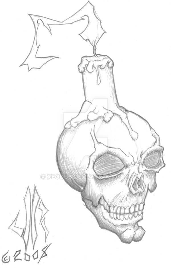 Drawn skull candle Skull Xeodus (Salvador Perez) DeviantArt