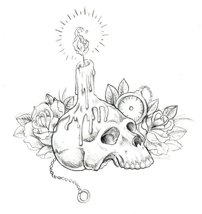 Drawn skull candle Skull  Drawing And Skull