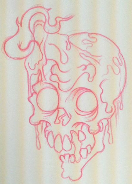 Drawn skull candle  : Ooey Drawings Melty