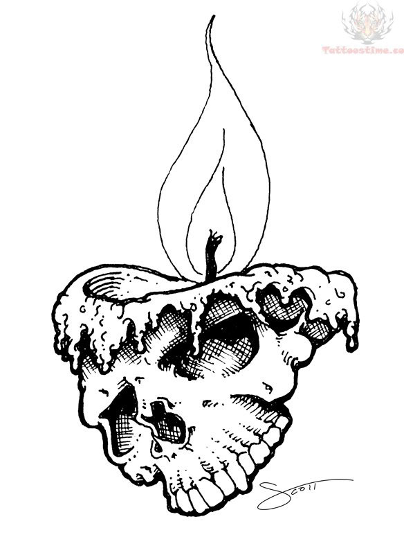 Drawn skull candle Melting Candle Tattoo Images Design