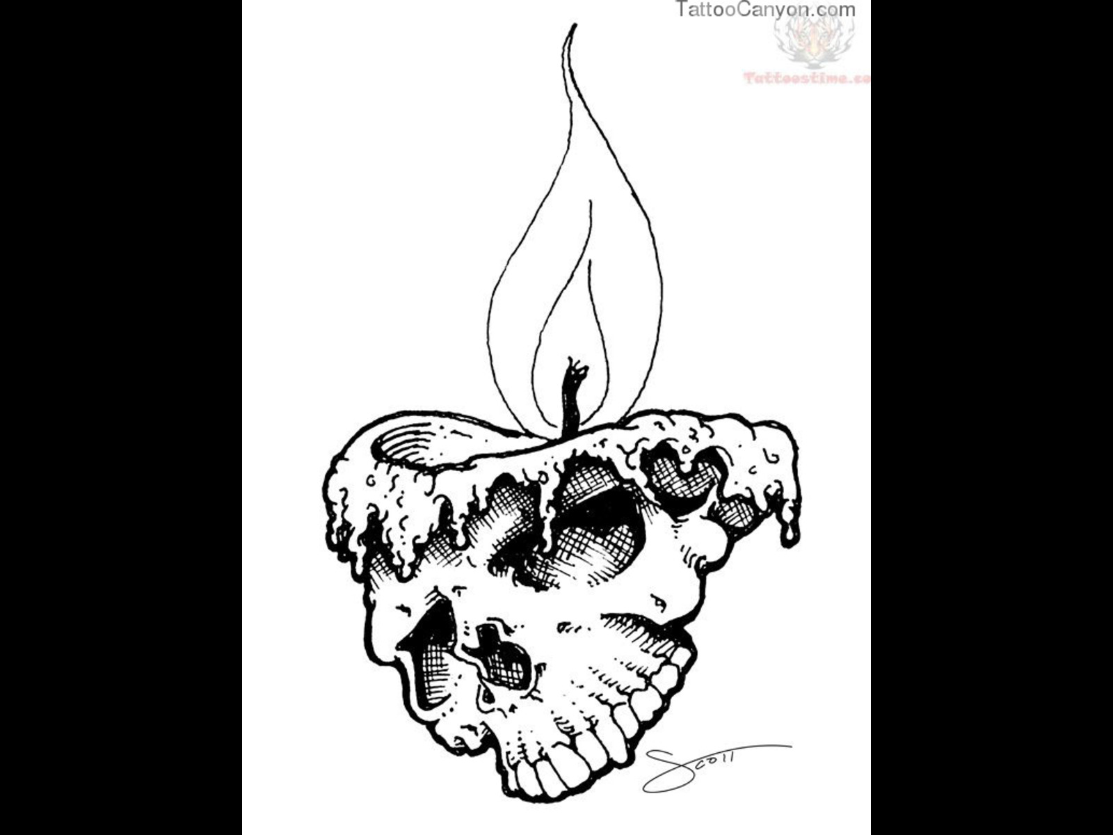 Drawn skull candle Design and Candle Sketches Skull