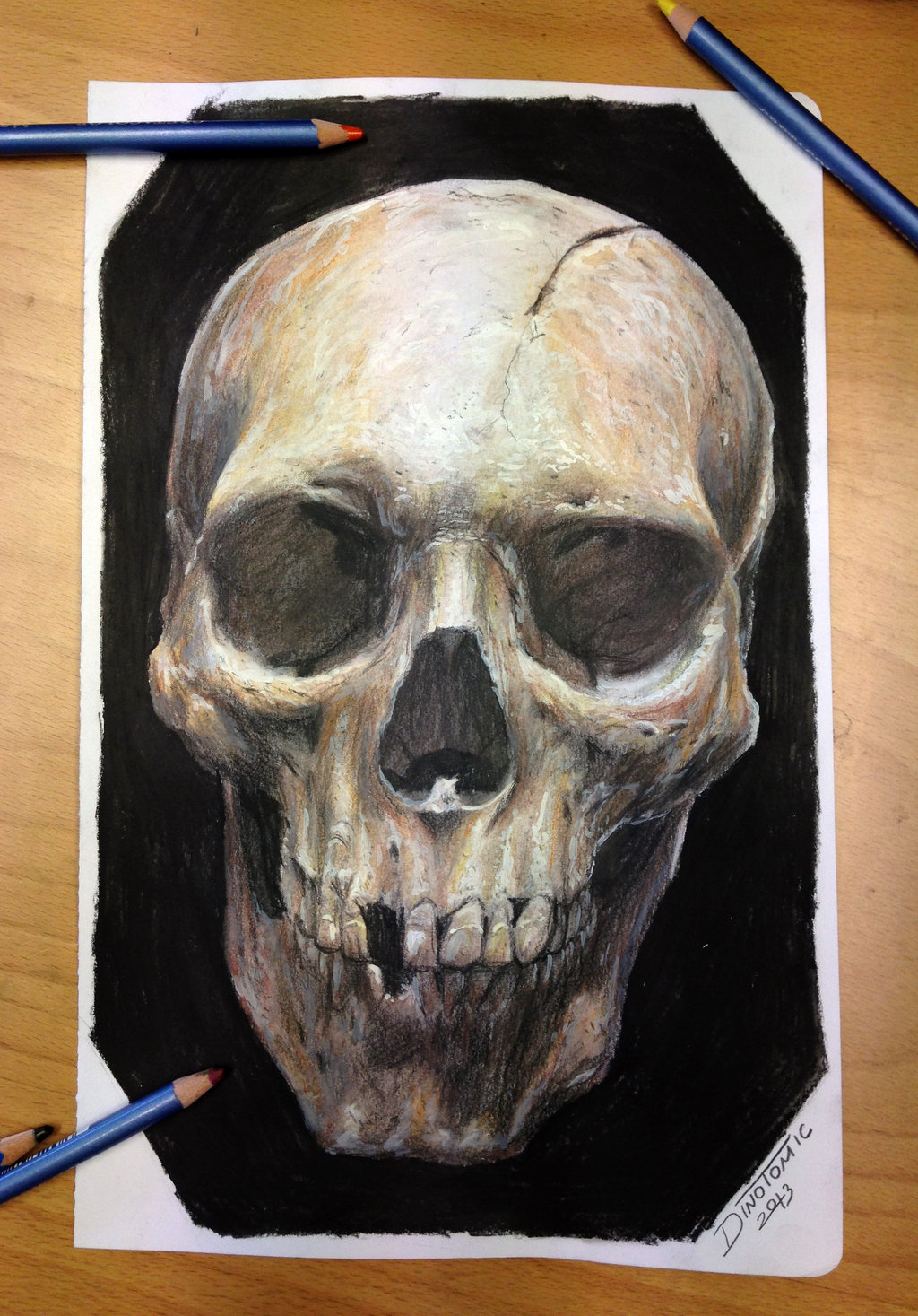 Drawn skull color Pencil deviantart Skull drawing color