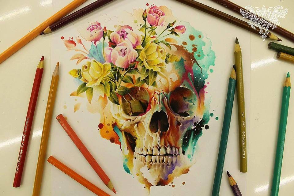 Drawn skull color Drawings Color Drawings Pencil Drawings