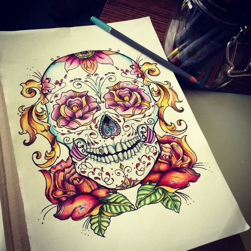 Drawn skull color Tattoo 127 images on best