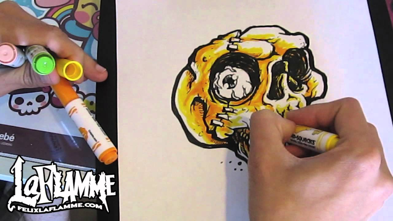 Drawn skull color YouTube speed speed drawing color