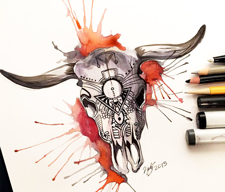 Drawn skull color By No color drawing drawing