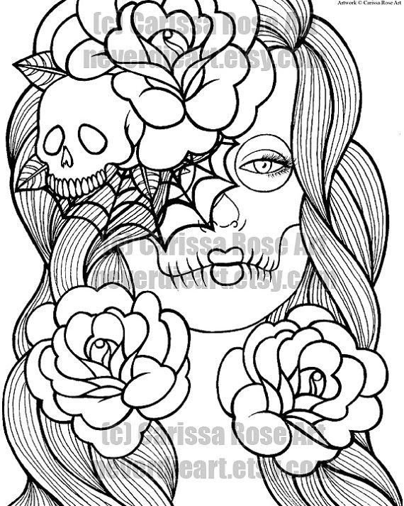 Drawn skull coloring page Book Digital Download Print Coloring