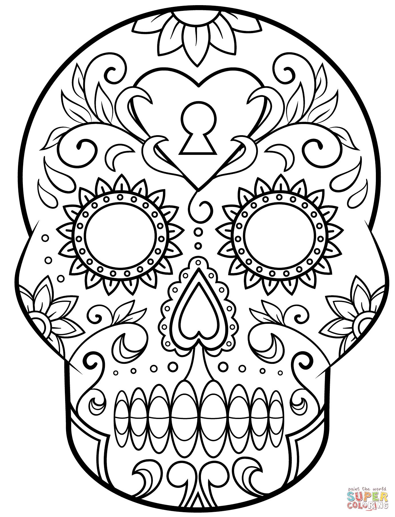 Drawn skull coloring page Skull the Day  Sugar