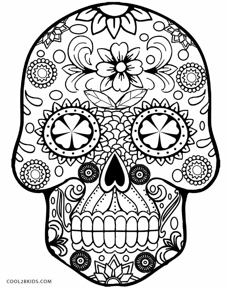 Drawn skull coloring page Coloring Pages Pages Cool2bKids Skulls