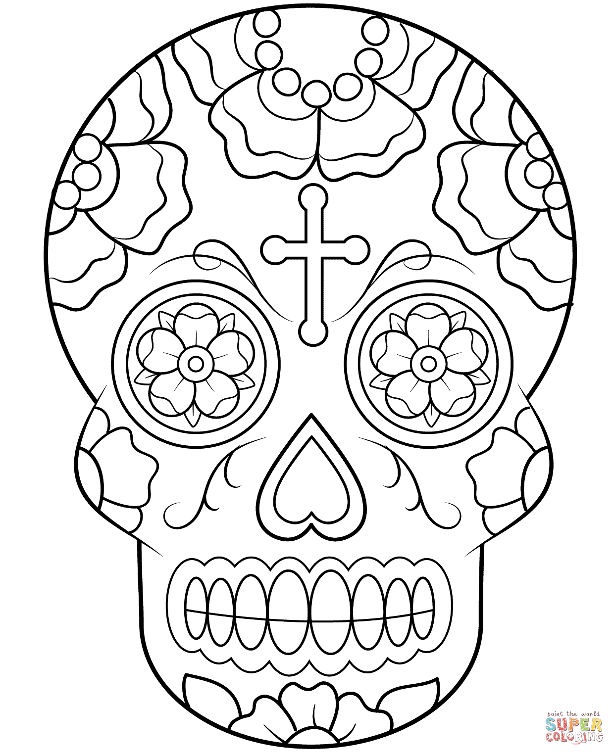 Drawn skull coloring page Free the Calavera pages coloring