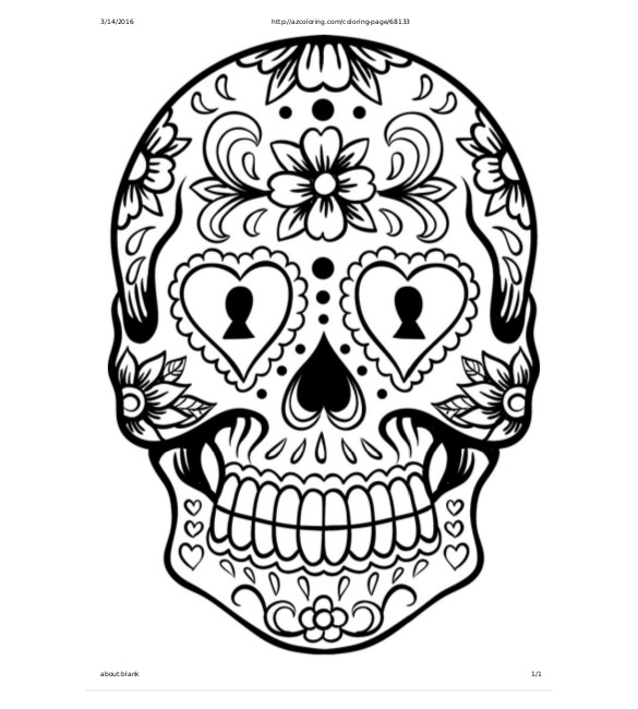 Drawn skull coloring page Documents Large Sugar Free Free