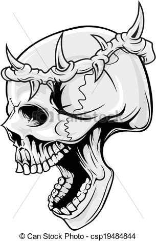 Drawn skull crown drawing EPS of with skull illustration