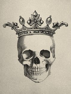 Drawn skull crown drawing Engraving Pinterest Collage Fabric Best