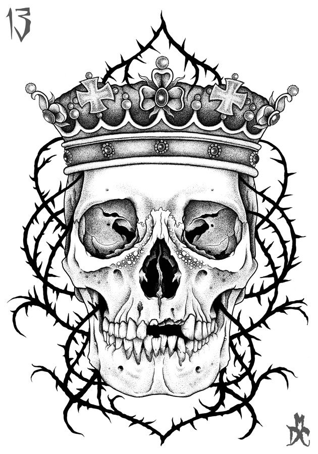Drawn skull crown drawing Skulls Crowns 25+ For of