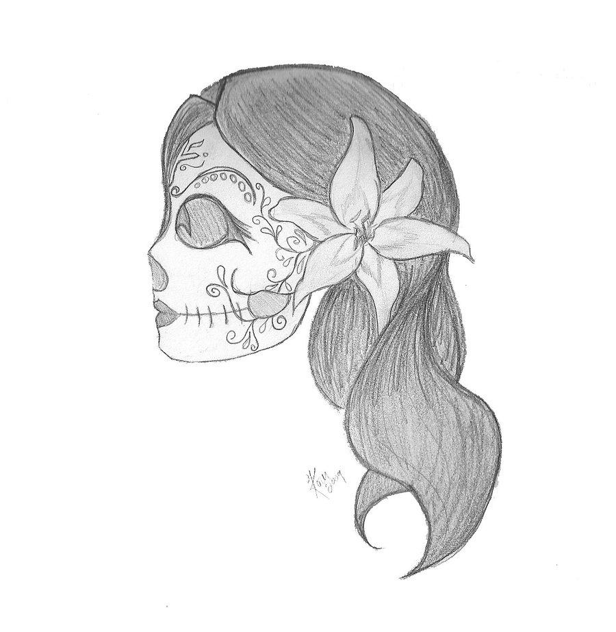 Drawn sugar skull pencil drawing Skull Easy Art Drawings Skull