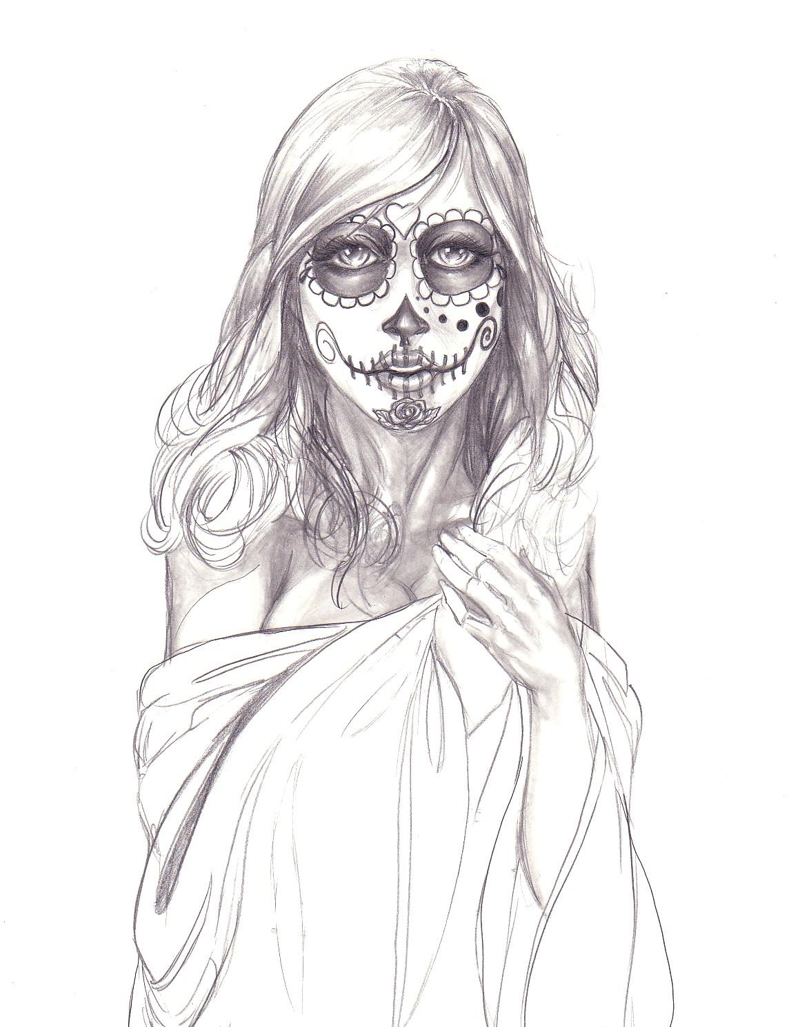 Drawn skull female skull Sugar and Sugar girl Drawing