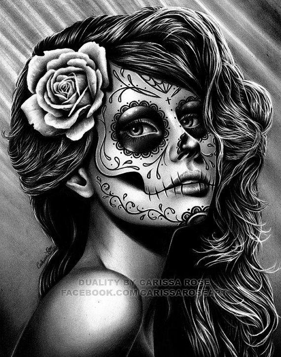 Drawn skull female skull Lámina x día en y