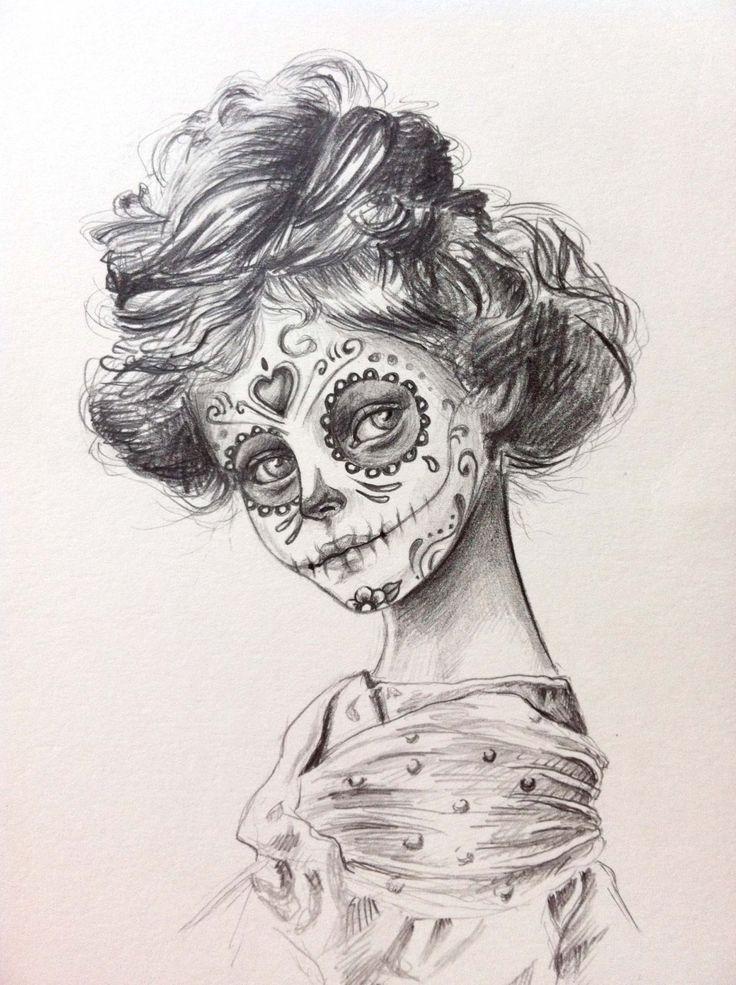 Drawn sugar skull pencil drawing Of girl girl ₪350 the