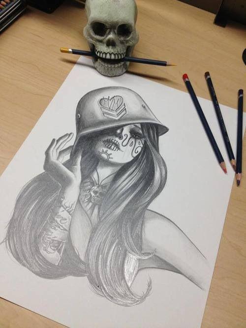 Drawn skull female skull Mash skull Military; tattoo girl