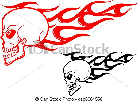 Drawn ssckull flame Warning Danger flames concept flames