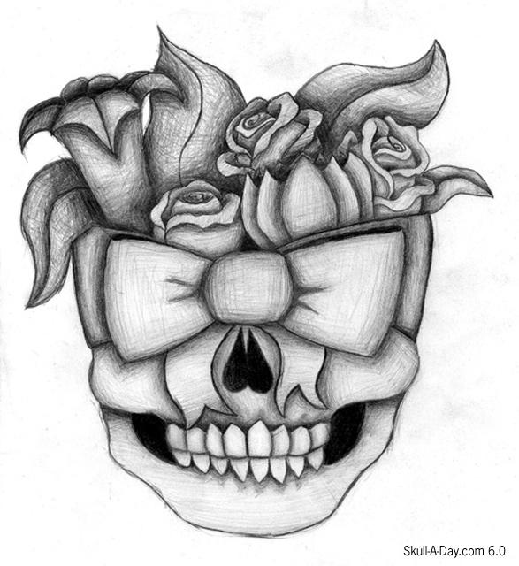 Drawn ssckull flower Bow Skull Flower and