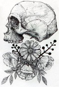 Drawn ssckull flower Grunge art hippie and indie