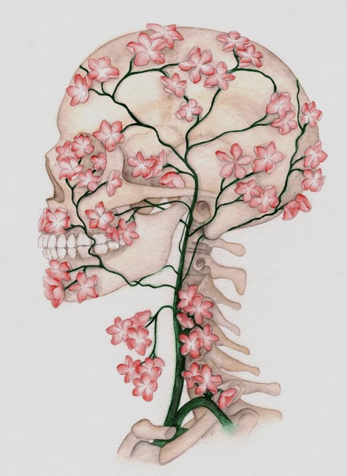 Drawn ssckull flower Drawing Flower Skull