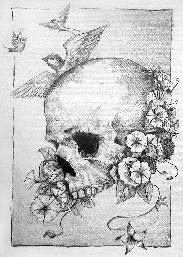 Drawn ssckull flower Drawings Google con Buscar on