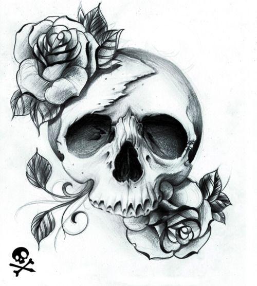 Drawn ssckull flower Skull drawing Roses Pinterest Illustration