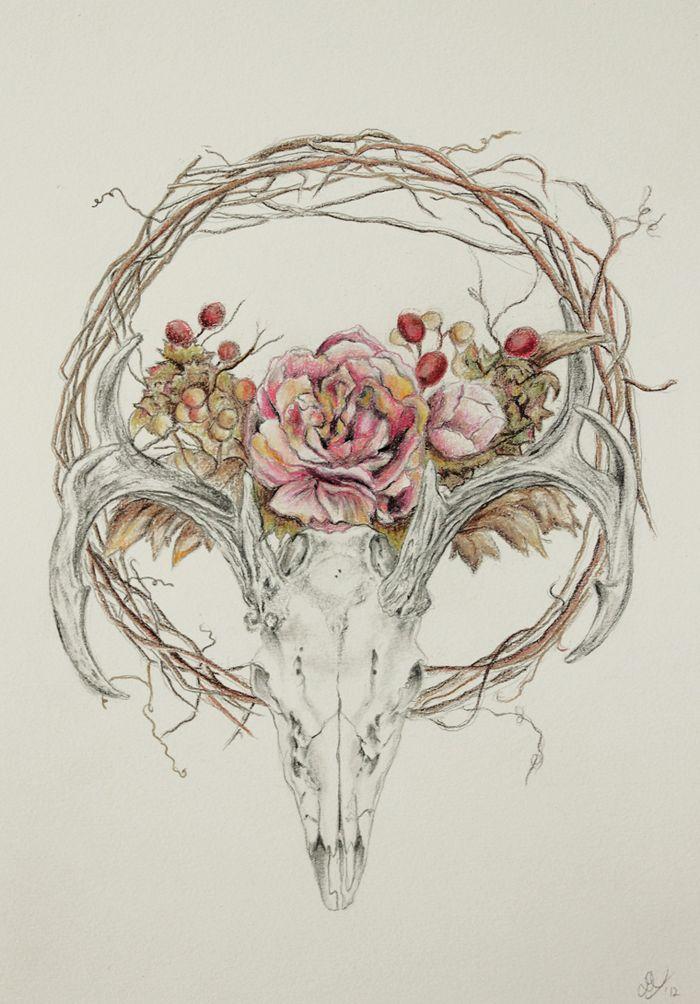 Drawn ssckull flower Pinterest Photo DrawingSkull Skull Deer