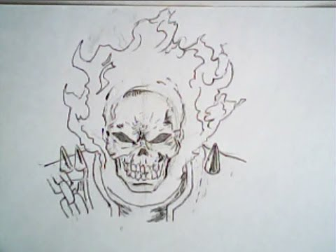 Drawn skull ghost Marvel YouTube  (frontal drawing