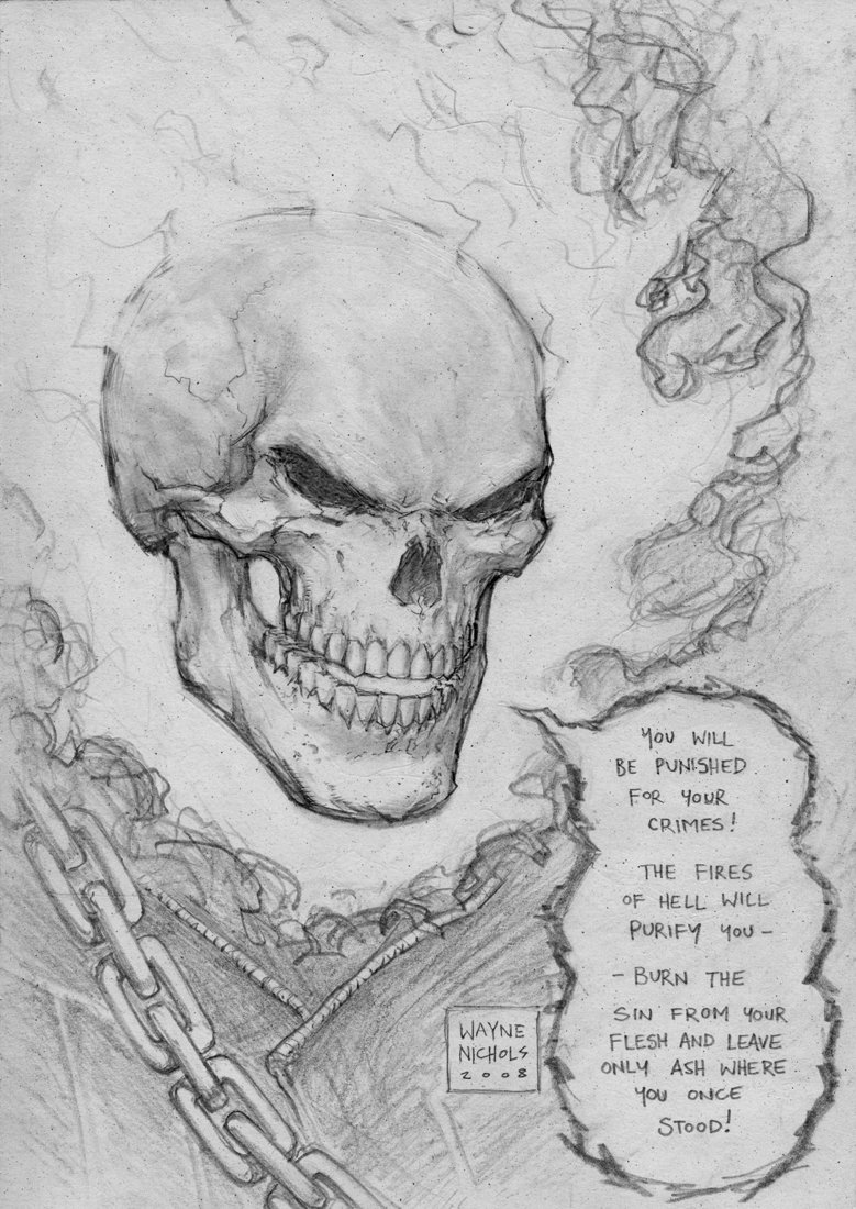 Drawn skull ghost Rider by Ghost FlowComa by