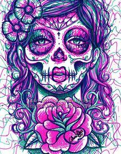 Drawn ssckull girly skull Sugar Illustration 11x14 on ideas