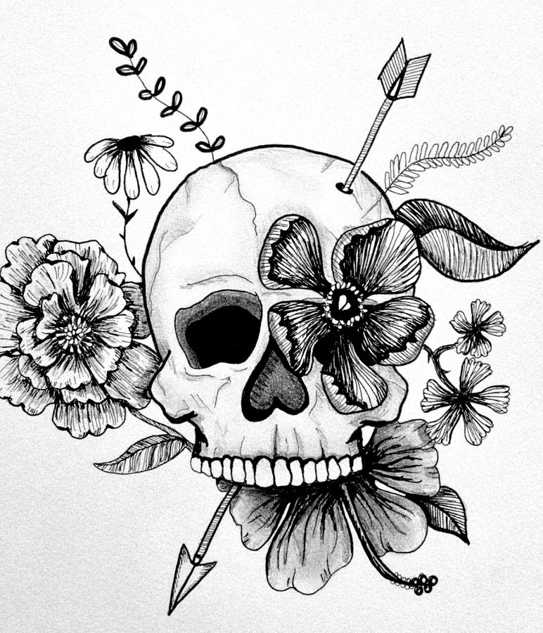 Drawn ssckull girly skull Skull Bowers Drawing Drawing Skull