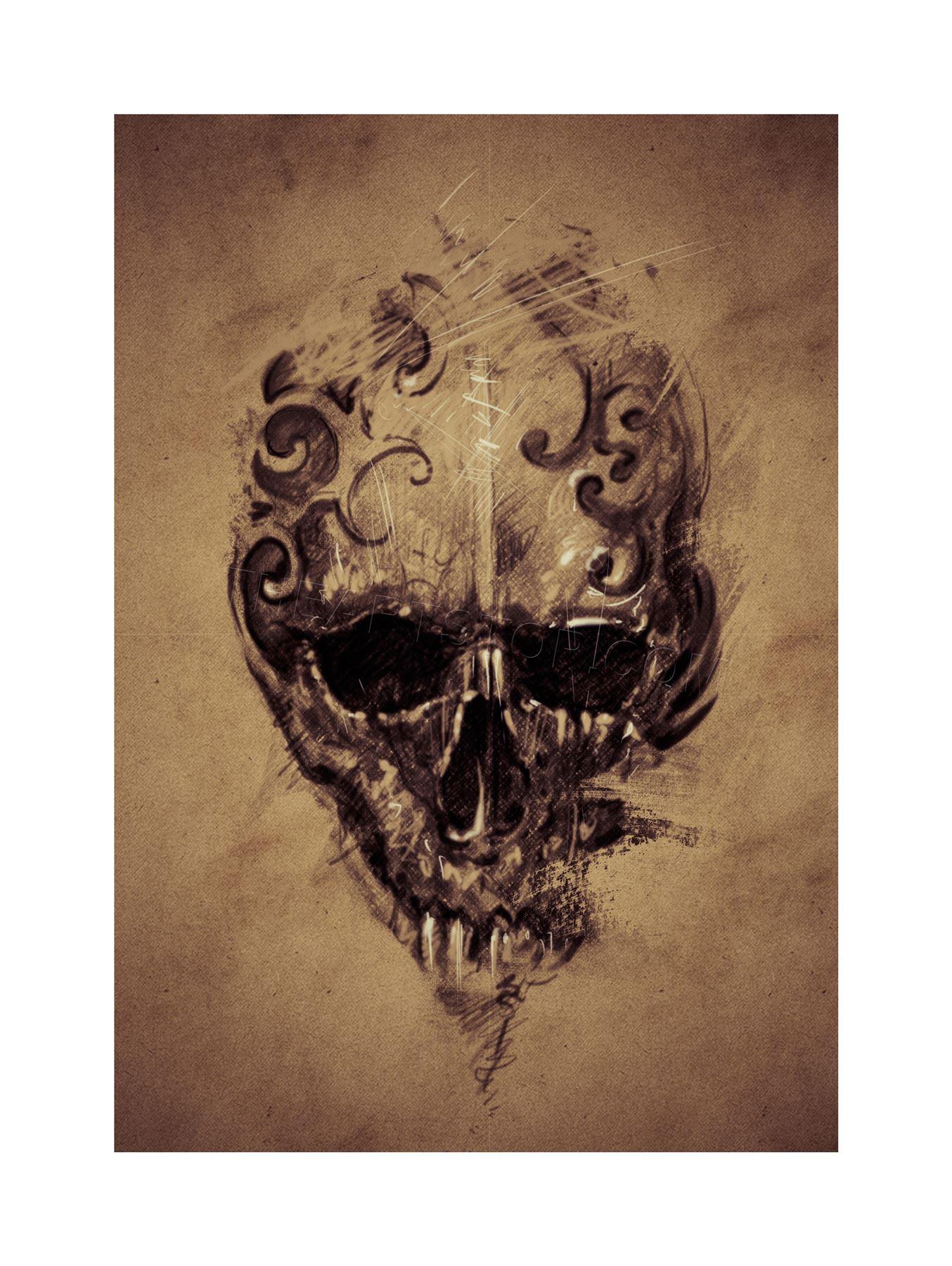Drawn skull gothic skull Gothic Skull 14 Tattoo