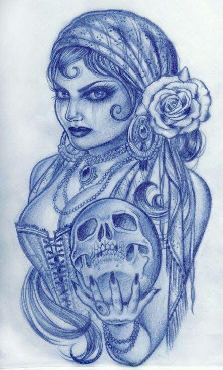 Drawn ssckull gypsy Tattoo 97 on Gypsy Pinterest