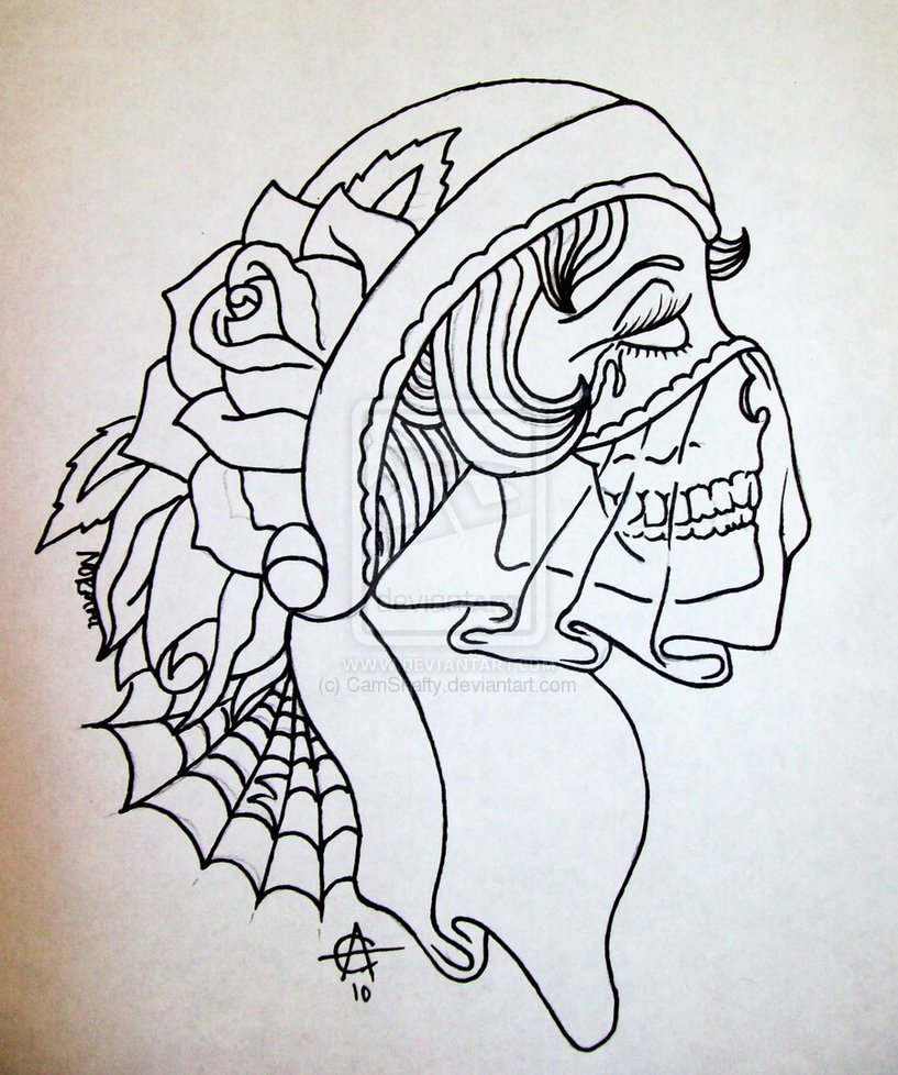 Drawn ssckull gypsy Tattoo Design Girl Sugar photo