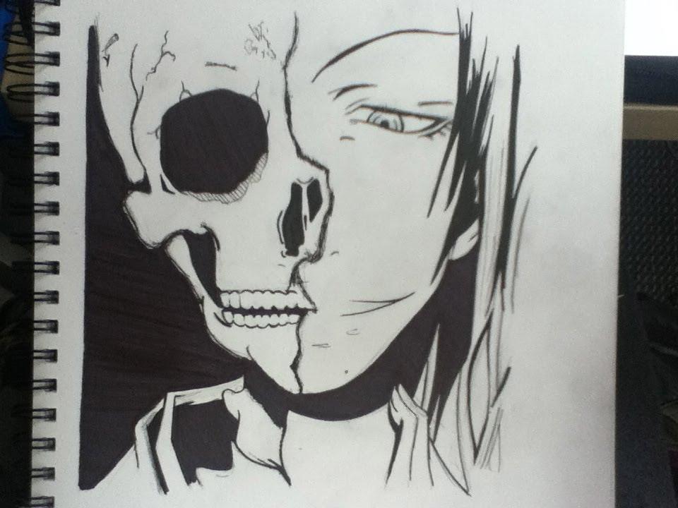 Drawn skull anime  YouTube Half Drawing Half